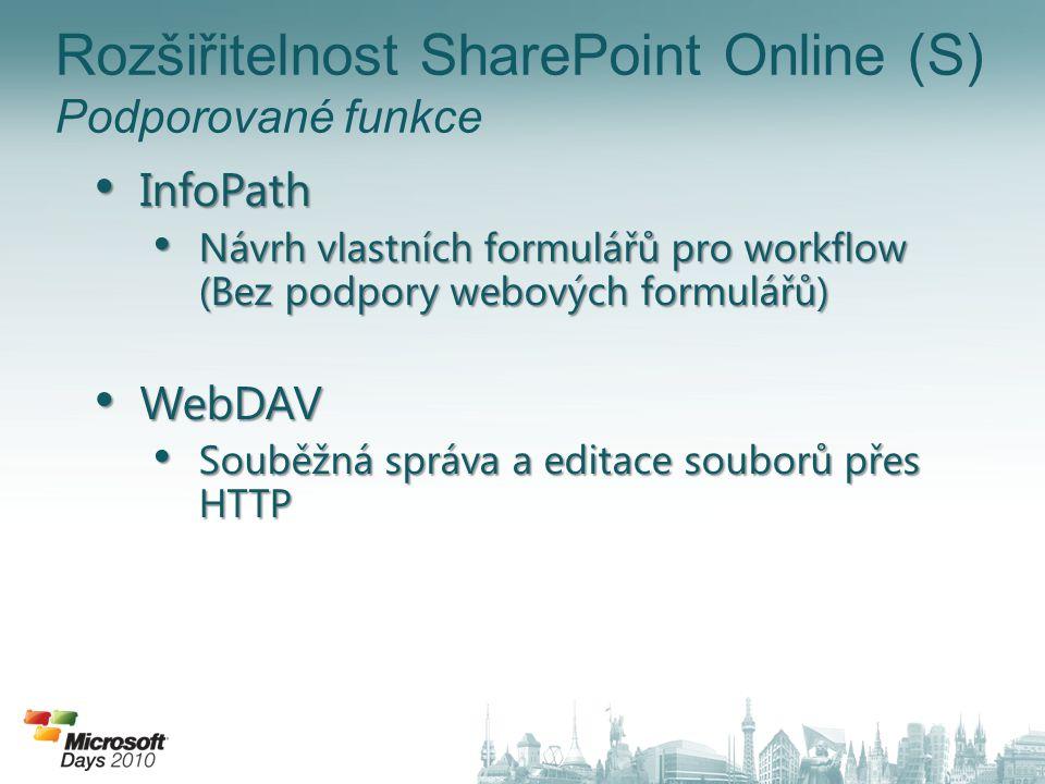 Rozšiřitelnost SharePoint Online (S) Podporované funkce
