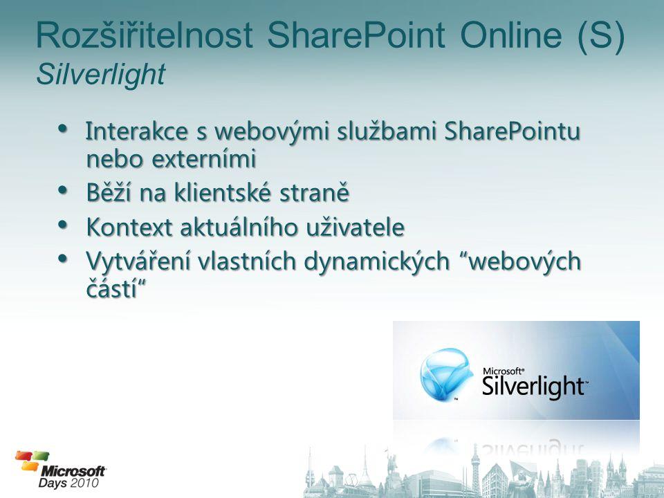 Rozšiřitelnost SharePoint Online (S) Silverlight