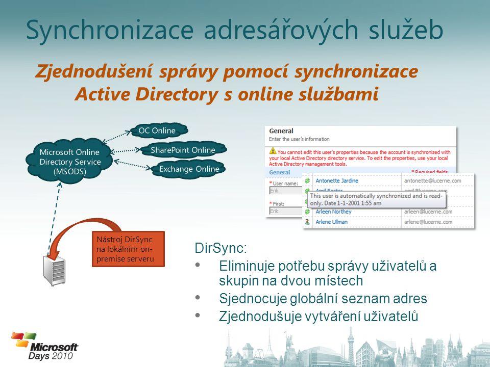 Synchronizace adresářových služeb Nástroj DirSync na lokálním on- premise serveru Zjednodušení správy pomocí synchronizace Active Directory s online službami DirSync: • Eliminuje potřebu správy uživatelů a skupin na dvou místech • Sjednocuje globální seznam adres • Zjednodušuje vytváření uživatelů