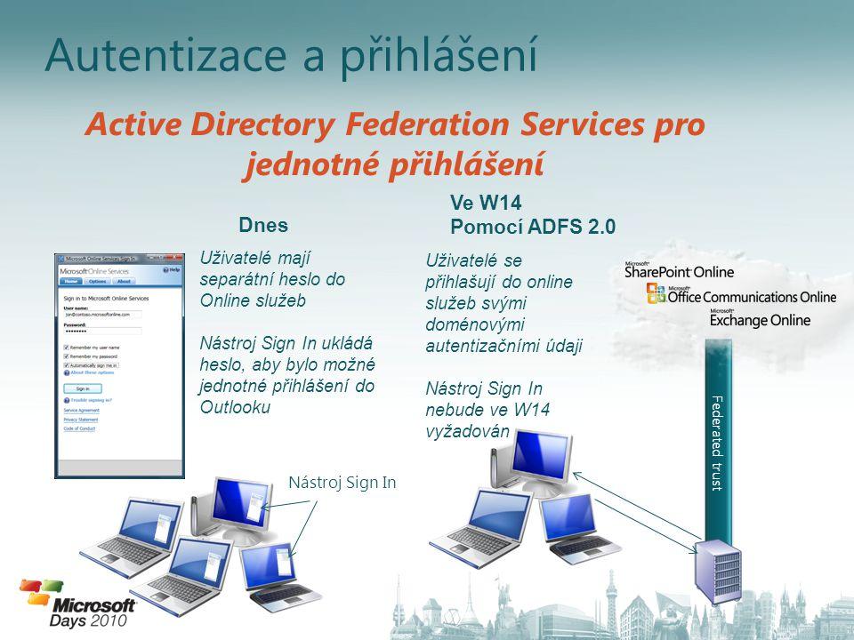Federated trust Uživatelé mají separátní heslo do Online služeb Nástroj Sign In ukládá heslo, aby bylo možné jednotné přihlášení do Outlooku Uživatelé se přihlašují do online služeb svými doménovými autentizačními údaji Nástroj Sign In nebude ve W14 vyžadován Nástroj Sign In Active Directory Federation Services pro jednotné přihlášení Dnes Ve W14 Pomocí ADFS 2.0 Active Directory Federation Services 2.0 (Geneva)