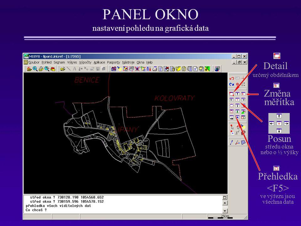 PANEL OKNO nastavení pohledu na grafická data •Nové okno – otevírá nové zobrazovací okno Windows •Překreslení okna – bez změny měřítka a pohledu, aktualizuje současné zobrazení •Obnovení okna - – jako překreslení, odstraní pomocné konstrukce •Přehledka s volbou •Předchozí výřez - •Obsah oken - – nastavení parametrů zobrazení – co se má v okně zobrazovat •Zvětšení 2x – •Zmenšení 2x – •Posun výřezu – + + pohyb myši (bez stisknutého tlačítka)