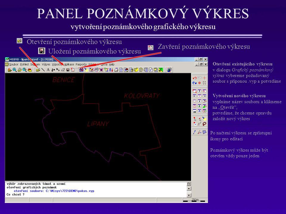 PANEL POZNÁMKOVÝ VÝKRES vytvoření poznámkového grafického výkresu Otevření poznámkového výkresu Otevření existujícího výkresu v dialogu Grafický pozná
