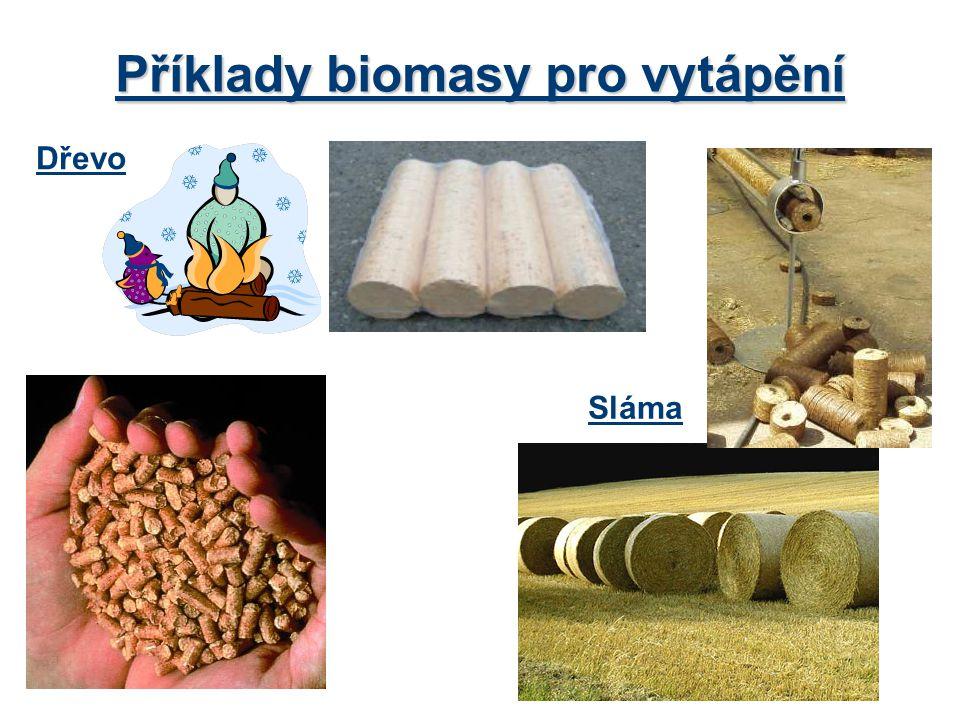 Dřevo Příklady biomasy pro vytápění Sláma