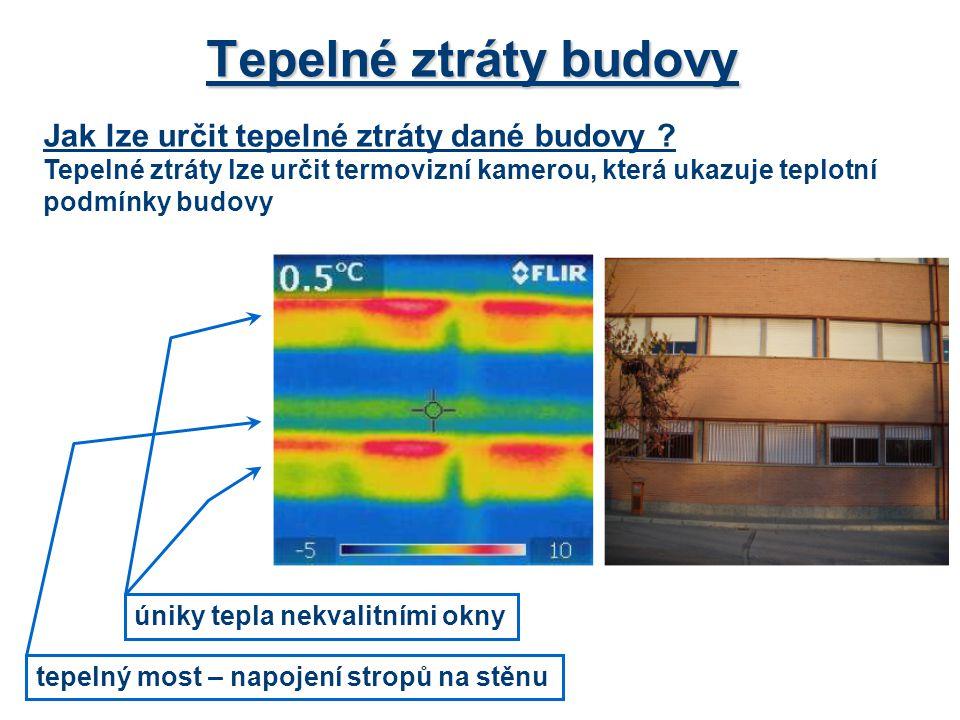 Tepelné ztráty budovy Jak lze určit tepelné ztráty dané budovy ? Tepelné ztráty lze určit termovizní kamerou, která ukazuje teplotní podmínky budovy t