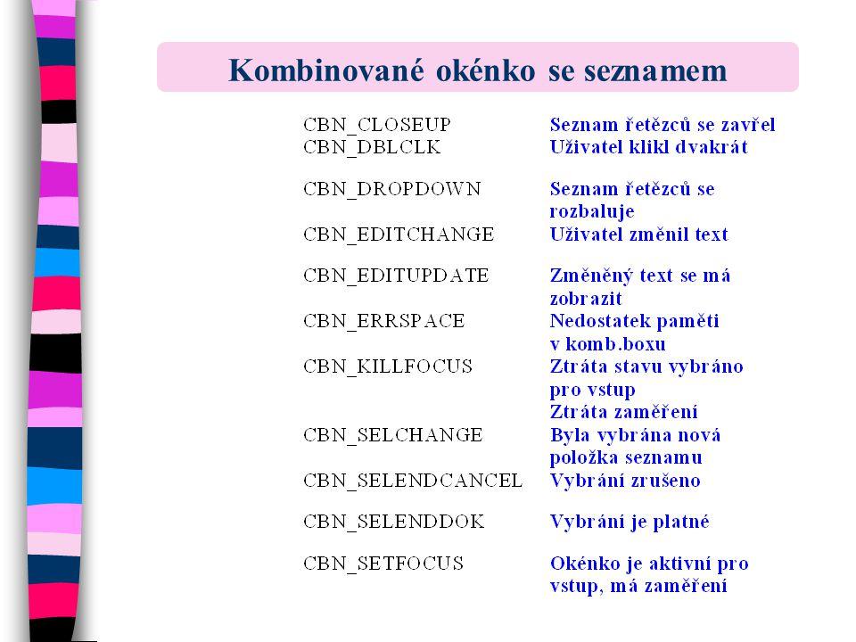 Kombinované okénko se seznamem