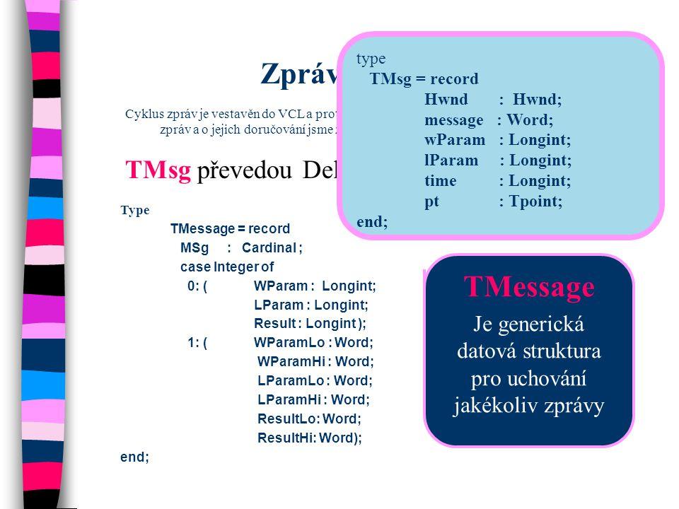 Nahlédněte do Message.pas Pro další zjednodušení práce se zprávami Delphi poskytují speciální datové typy pro určité typy zpráv Nemusíme tedy dekódovat parametry obecných typů TWMMouse = record Msg : Cardinal; Keys :Longint; case Integer of 0: (Xpos : SmallInt; Ypos : SmallInt); 1: (Pos : TsmallPoint; Result : Longint); end; TWMKey = packed record Msg : Cardinal; CharCode: Word; Unused : Word; KeyData : Longint; Result: Longint; End;  specializace dále pokračuje