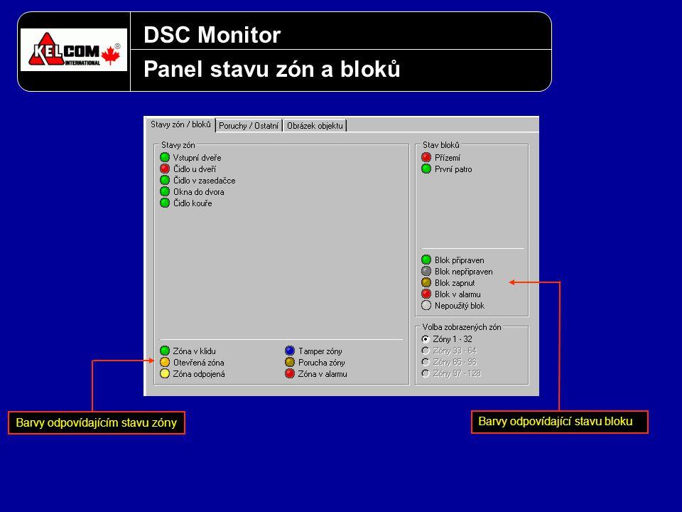 DSC Monitor Panel stavu zón a bloků Barvy odpovídajícím stavu zóny Barvy odpovídající stavu bloku