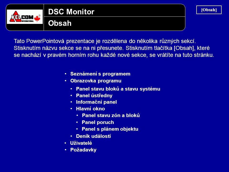 DSC Monitor Obsah Tato PowerPointová prezentace je rozdělena do několika různých sekcí. Stisknutím názvu sekce se na ni přesunete. Stisknutím tlačítka