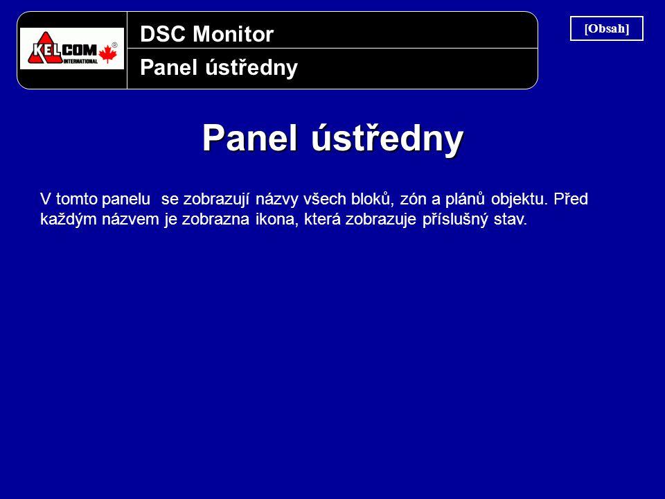 DSC Monitor Panel ústředny V tomto panelu se zobrazují názvy všech bloků, zón a plánů objektu. Před každým názvem je zobrazna ikona, která zobrazuje p