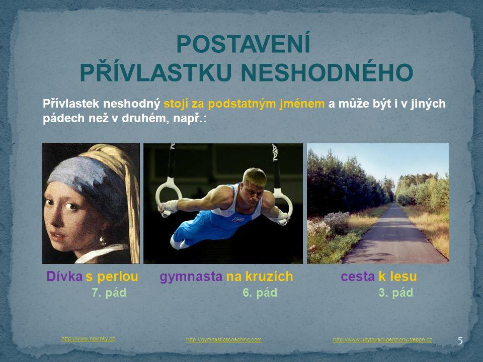 5 POSTAVENÍ PŘÍVLASTKU NESHODNÉHO Přívlastek neshodný stojí za podstatným jménem a může být i v jiných pádech než v druhém, např.: http://www.novinky.cz Dívka s perloucesta k lesugymnasta na kruzích http://gymnasticscoaching.com 7.