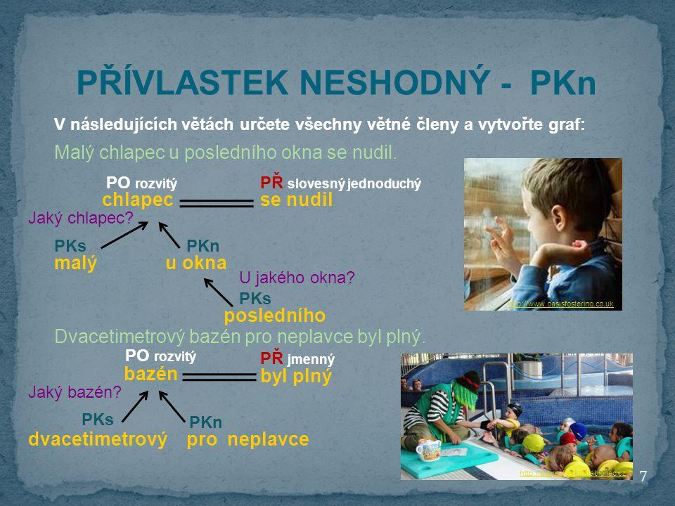 7 http://www.oasisfostering.co.uk PŘÍVLASTEK NESHODNÝ - PKn V následujících větách určete všechny větné členy a vytvořte graf: Malý chlapec u posledního okna se nudil.