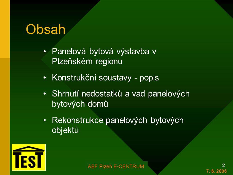 FOR ARCH Plzeň 2006 2 Obsah •Panelová bytová výstavba v Plzeňském regionu •Konstrukční soustavy - popis •Shrnutí nedostatků a vad panelových bytových