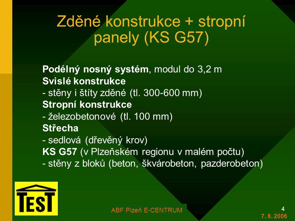 FOR ARCH Plzeň 2006 4 Zděné konstrukce + stropní panely (KS G57) Podélný nosný systém, modul do 3,2 m Svislé konstrukce - stěny i štíty zděné (tl.