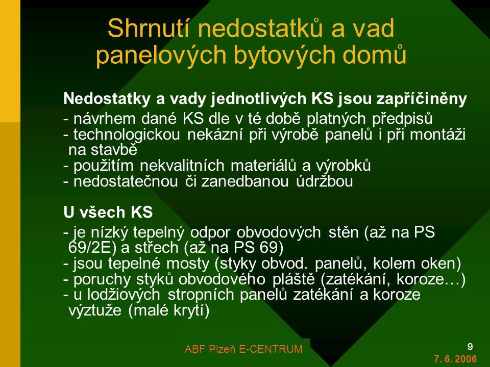 FOR ARCH Plzeň 2006 9 Shrnutí nedostatků a vad panelových bytových domů Nedostatky a vady jednotlivých KS jsou zapříčiněny - návrhem dané KS dle v té