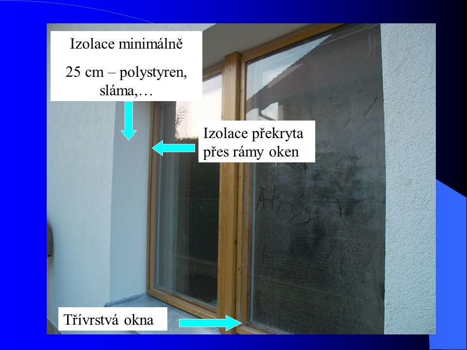 Izolace minimálně 25 cm – polystyren, sláma,… Izolace překryta přes rámy oken Třívrstvá okna