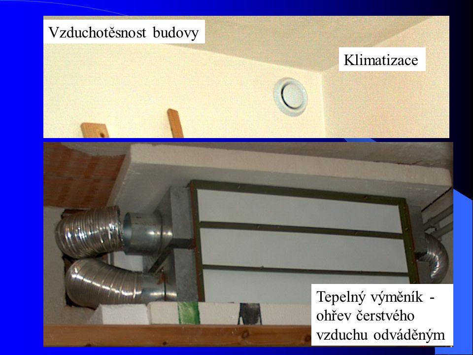 Vzduchotěsnost budovy Tepelný výměník - ohřev čerstvého vzduchu odváděným Klimatizace