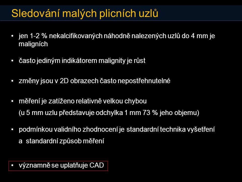 Sledování malých plicních uzlů • jen 1-2 % nekalcifikovaných náhodně nalezených uzlů do 4 mm je maligních • často jediným indikátorem malignity je růs