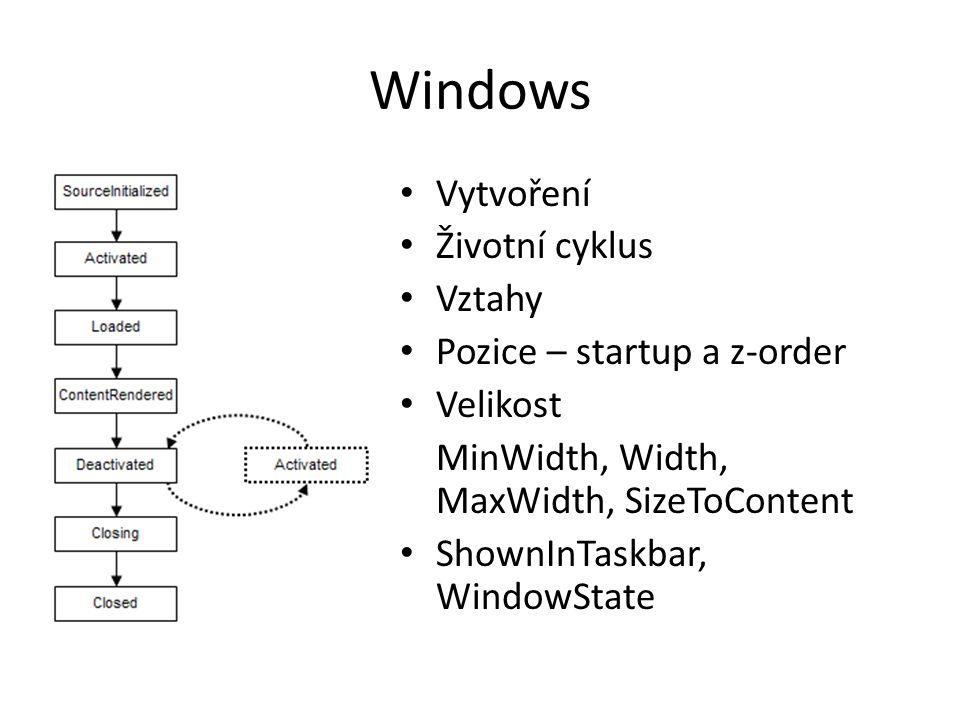 Windows • Vytvoření • Životní cyklus • Vztahy • Pozice – startup a z-order • Velikost MinWidth, Width, MaxWidth, SizeToContent • ShownInTaskbar, WindowState