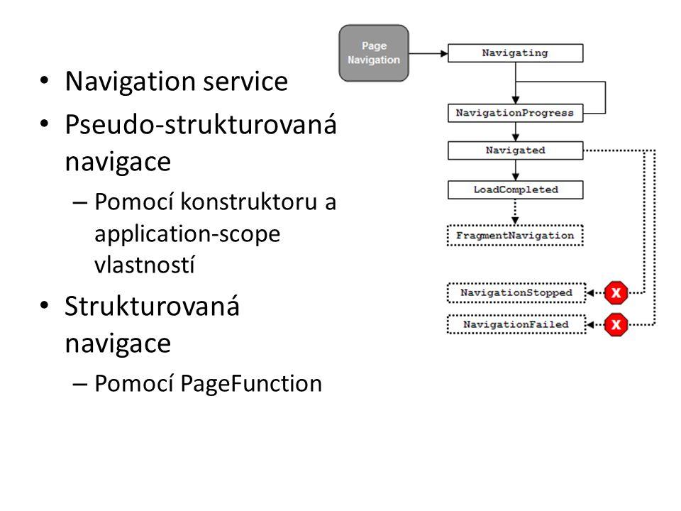 • Navigation service • Pseudo-strukturovaná navigace – Pomocí konstruktoru a application-scope vlastností • Strukturovaná navigace – Pomocí PageFunction