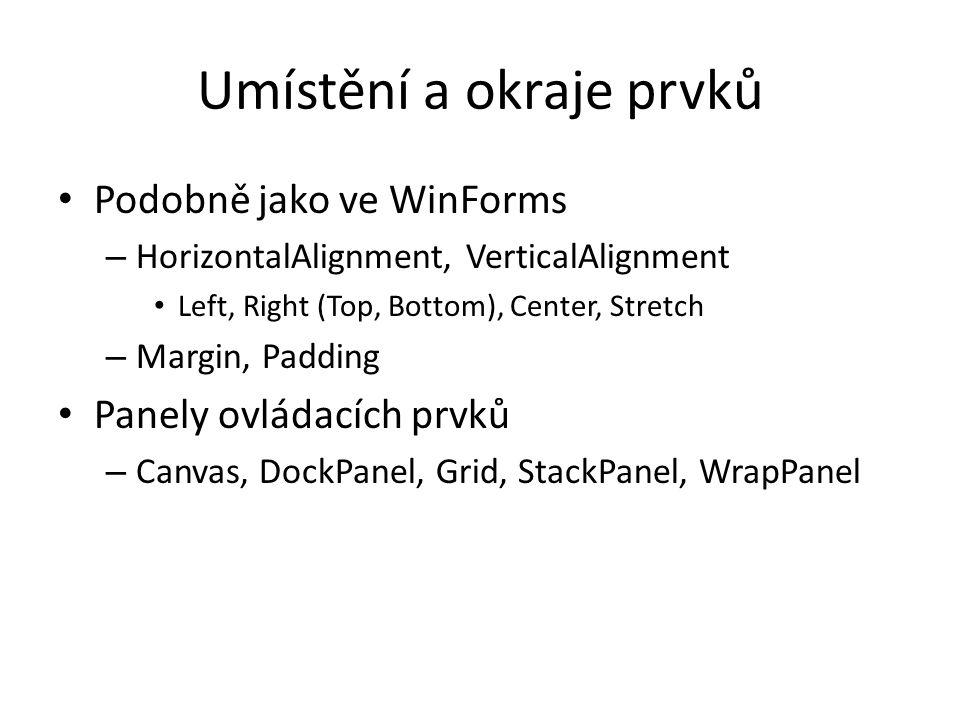 Umístění a okraje prvků • Podobně jako ve WinForms – HorizontalAlignment, VerticalAlignment • Left, Right (Top, Bottom), Center, Stretch – Margin, Padding • Panely ovládacích prvků – Canvas, DockPanel, Grid, StackPanel, WrapPanel