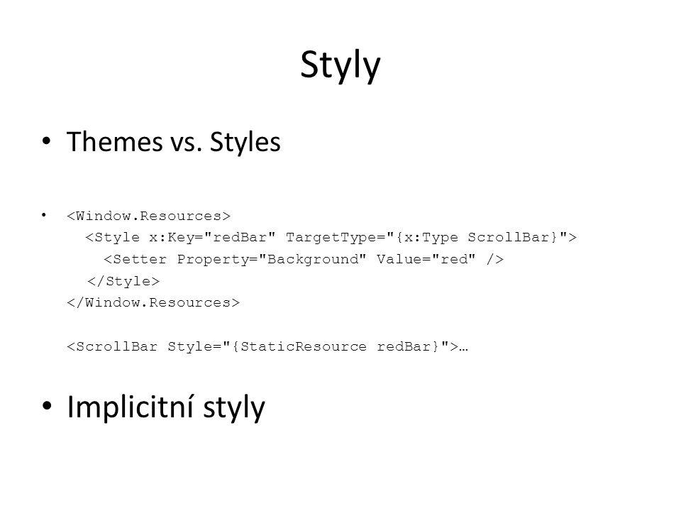 Styly • Themes vs. Styles • … • Implicitní styly