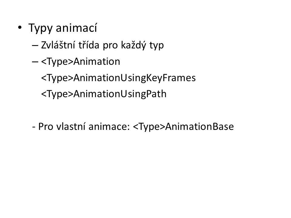 • Typy animací – Zvláštní třída pro každý typ – Animation AnimationUsingKeyFrames AnimationUsingPath - Pro vlastní animace: AnimationBase