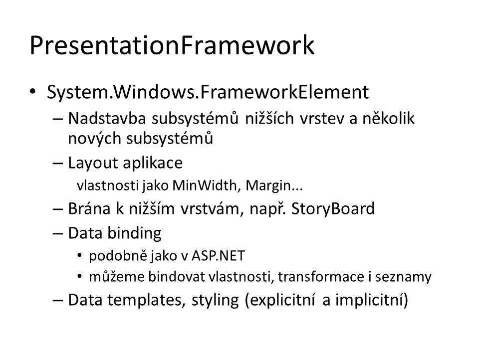PresentationFramework • System.Windows.FrameworkElement – Nadstavba subsystémů nižších vrstev a několik nových subsystémů – Layout aplikace vlastnosti