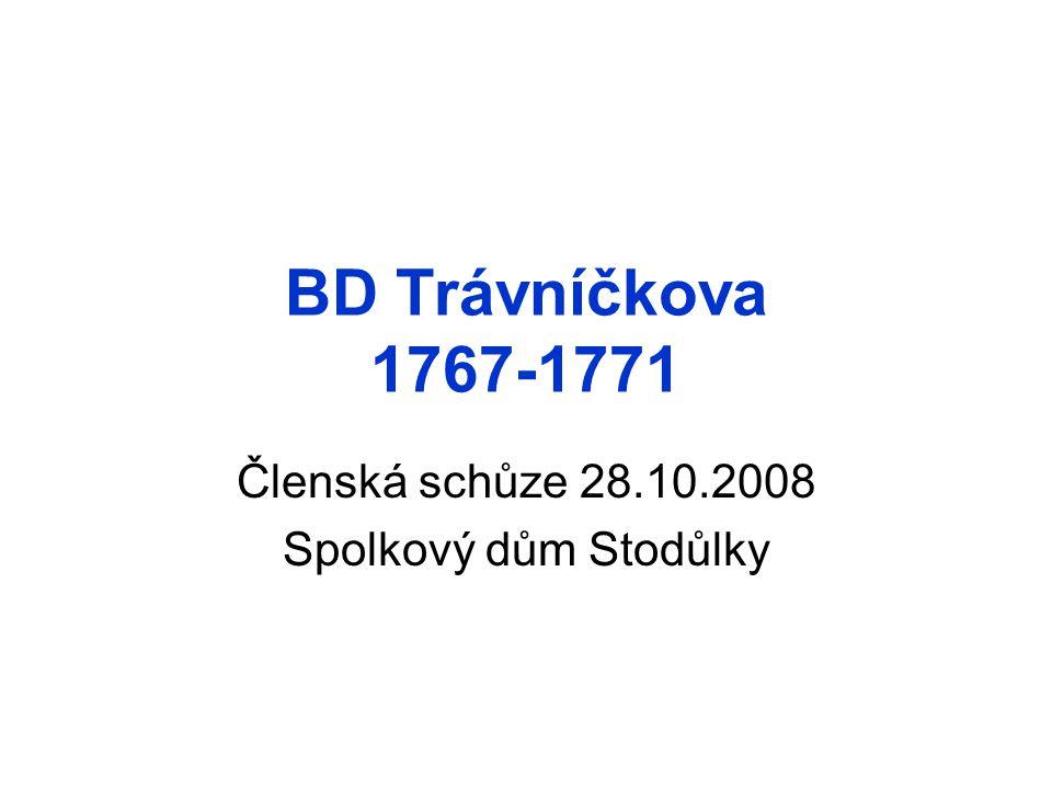 BD Trávníčkova 1767-1771 Členská schůze 28.10.2008 Spolkový dům Stodůlky