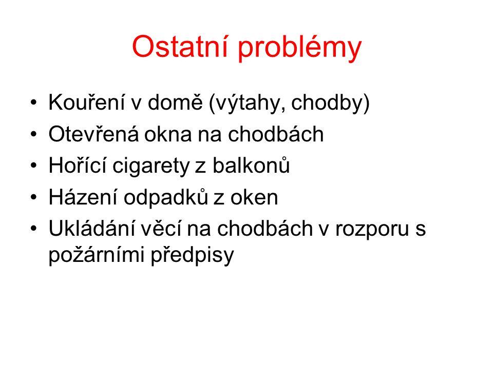 Ostatní problémy •Kouření v domě (výtahy, chodby) •Otevřená okna na chodbách •Hořící cigarety z balkonů •Házení odpadků z oken •Ukládání věcí na chodb