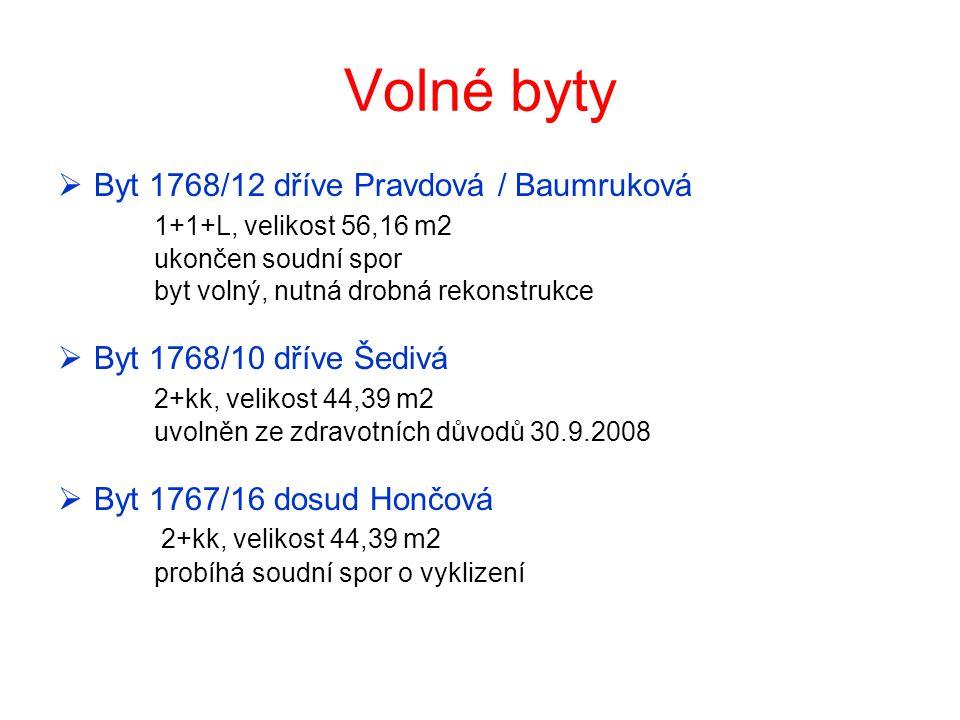 Volné byty  Byt 1768/12 dříve Pravdová / Baumruková 1+1+L, velikost 56,16 m2 ukončen soudní spor byt volný, nutná drobná rekonstrukce  Byt 1768/10 d
