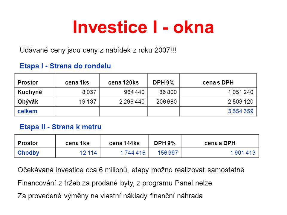 Investice I - okna Prostorcena 1kscena 120ksDPH 9%cena s DPH Kuchyně8 037964 44086 8001 051 240 Obývák19 1372 296 440206 6802 503 120 celkem 3 554 359