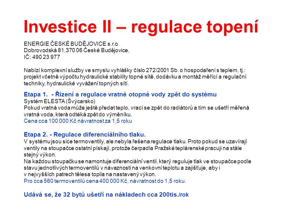 Investice II – regulace topení ENERGIE ČESKÉ BUDĚJOVICE s.r.o Dobrovodská 81,370 06 České Budějovice, IČ: 490 23 977 Nabízí komplexní služby ve smyslu