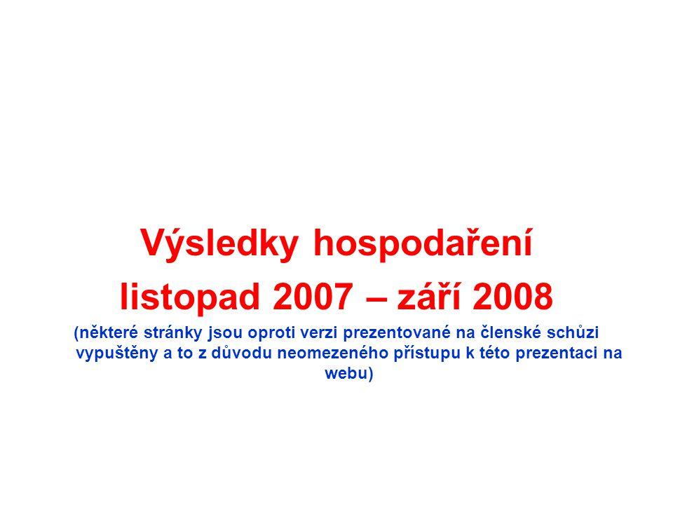 Výsledky hospodaření listopad 2007 – září 2008 (některé stránky jsou oproti verzi prezentované na členské schůzi vypuštěny a to z důvodu neomezeného p