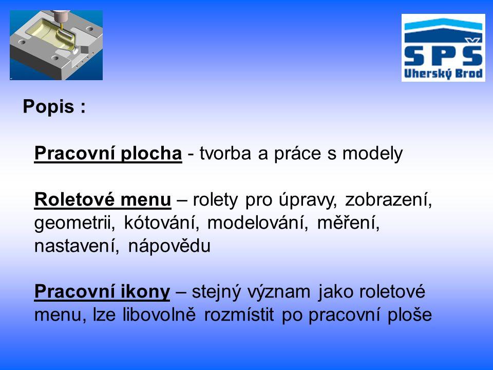 Příkazový řádek – upozorňuje na postup práce v systému Pohledy – půdorys, nárys, levý a pravý bokorys, pohled spodní a zadní, isometrický ( prostorový ) Popis :