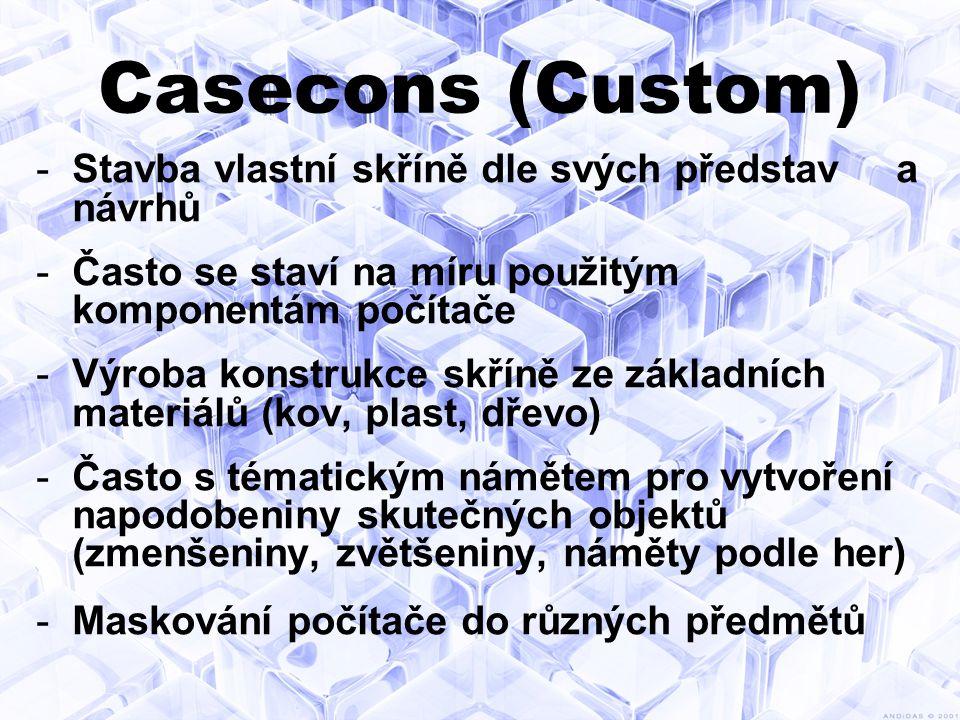 Casecons (Custom) -Stavba vlastní skříně dle svých představ a návrhů -Často se staví na míru použitým komponentám počítače -Výroba konstrukce skříně ze základních materiálů (kov, plast, dřevo) -Často s tématickým námětem pro vytvoření napodobeniny skutečných objektů (zmenšeniny, zvětšeniny, náměty podle her) -Maskování počítače do různých předmětů
