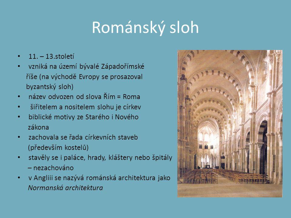 Malířství – románský sloh • inspiruje se v antice, karolinské a ottonské renesanci • nástěnné malby, okna s vitrážemi i bohatá výzdoba knih • s dochovanými malbami se můžeme setkat jen v kostelích • typický motiv Krista v mandorle (=elipsovitá svatozář s ostrými cípy) • malířská výzdoba knih a knižní desky, bohatě zdobené vyřezávaným dřevem, vzácnými kovy či drahokamy Kristus v Mandorle