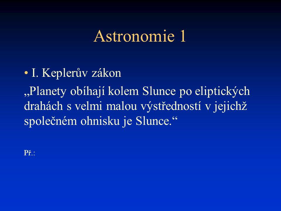 """Astronomie 1 • I. Keplerův zákon """"Planety obíhají kolem Slunce po eliptických drahách s velmi malou výstředností v jejichž společném ohnisku je Slunce"""