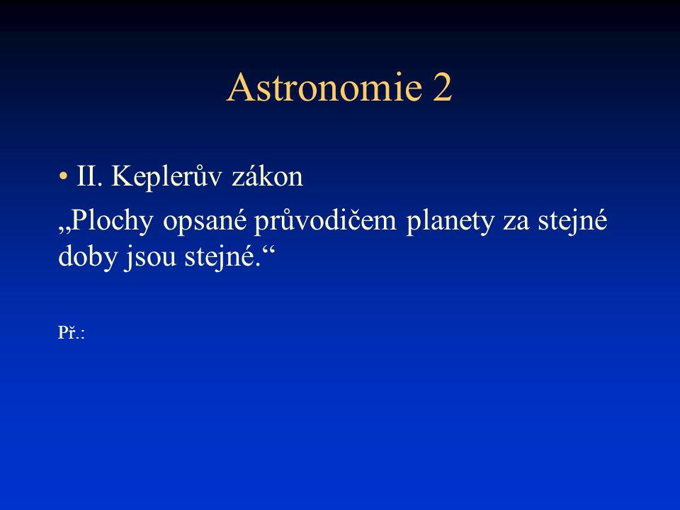 """Astronomie 2 • II. Keplerův zákon """"Plochy opsané průvodičem planety za stejné doby jsou stejné."""" Př.:"""