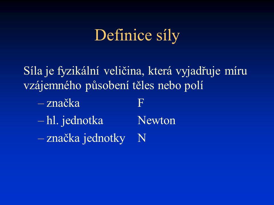 Definice síly Síla je fyzikální veličina, která vyjadřuje míru vzájemného působení těles nebo polí –značkaF –hl. jednotkaNewton –značka jednotkyN