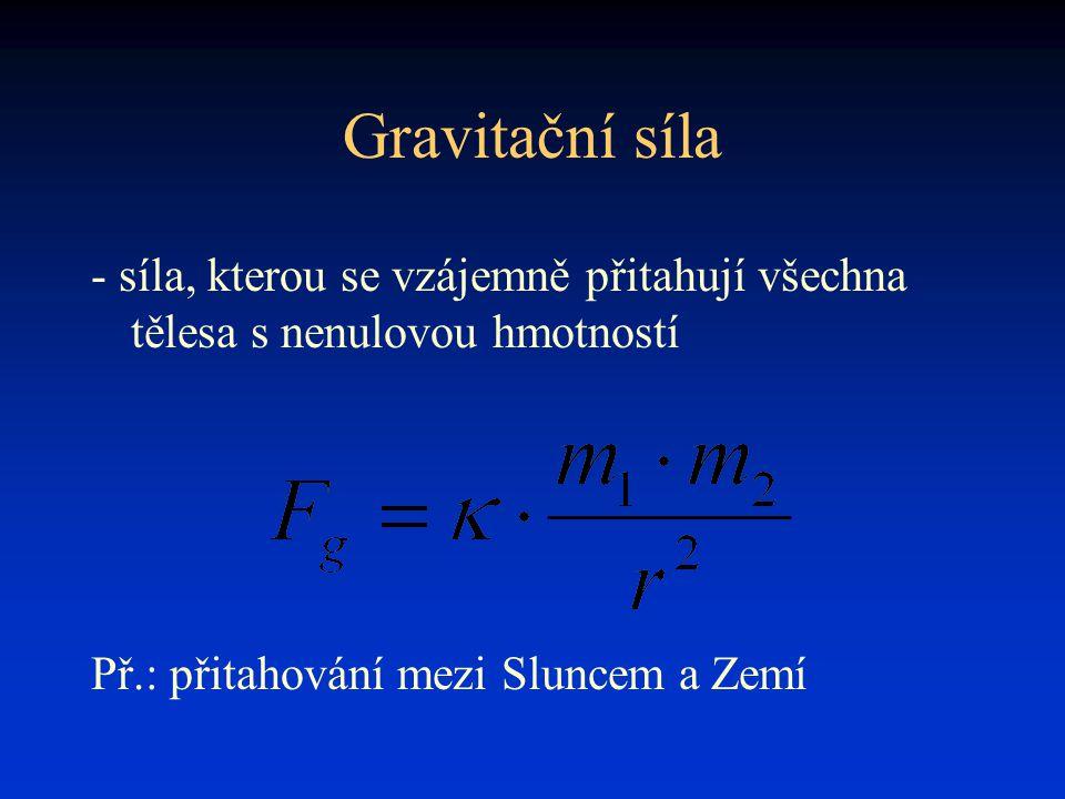 Gravitační síla - síla, kterou se vzájemně přitahují všechna tělesa s nenulovou hmotností Př.: přitahování mezi Sluncem a Zemí