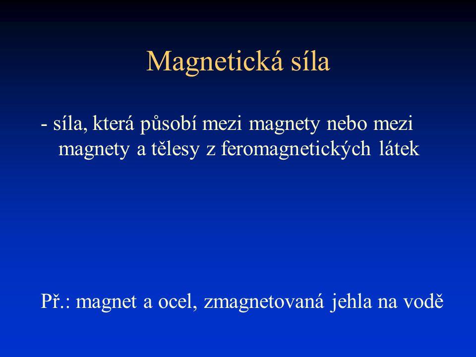 Magnetická síla - síla, která působí mezi magnety nebo mezi magnety a tělesy z feromagnetických látek Př.: magnet a ocel, zmagnetovaná jehla na vodě