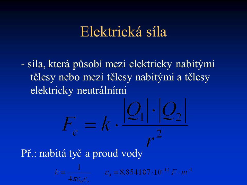 Elektrická síla - síla, která působí mezi elektricky nabitými tělesy nebo mezi tělesy nabitými a tělesy elektricky neutrálními Př.: nabitá tyč a proud