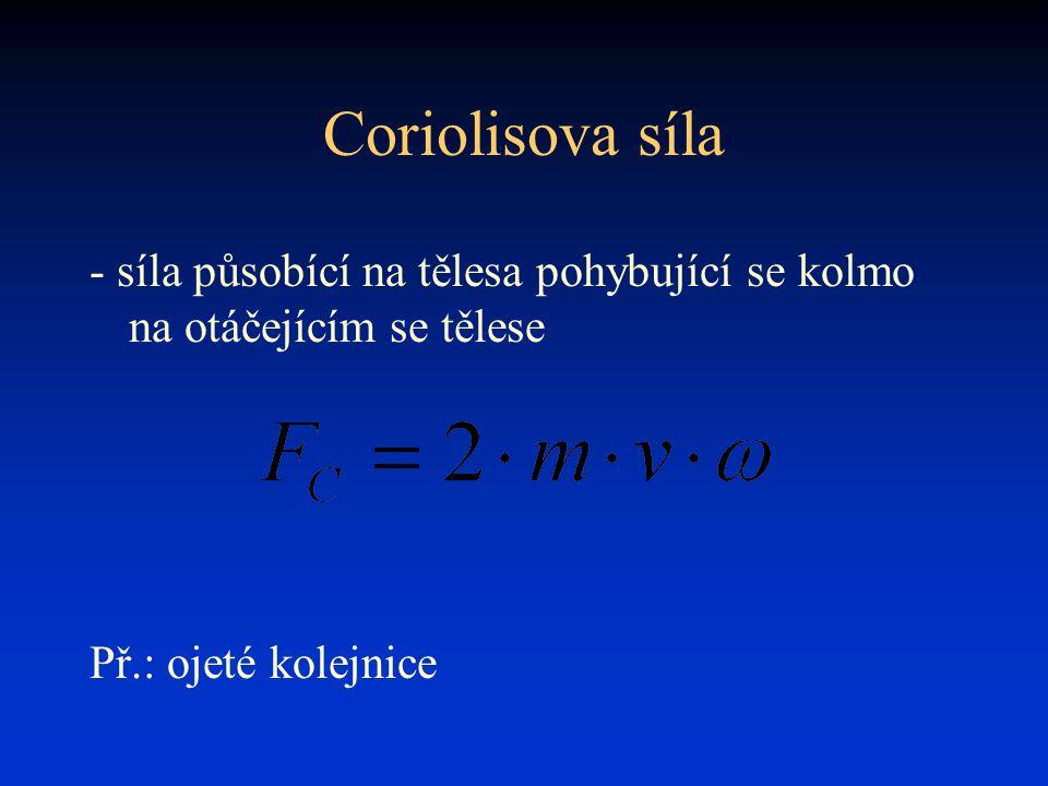 Coriolisova síla - síla působící na tělesa pohybující se kolmo na otáčejícím se tělese Př.: ojeté kolejnice