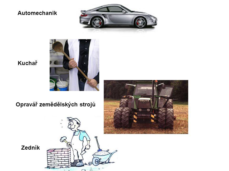 Kuchař Automechanik Opravář zemědělských strojů Zedník