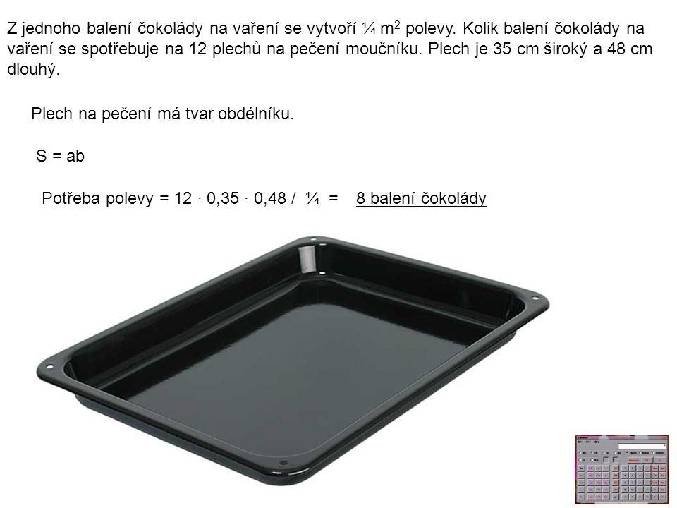 Z jednoho balení čokolády na vaření se vytvoří ¼ m 2 polevy.