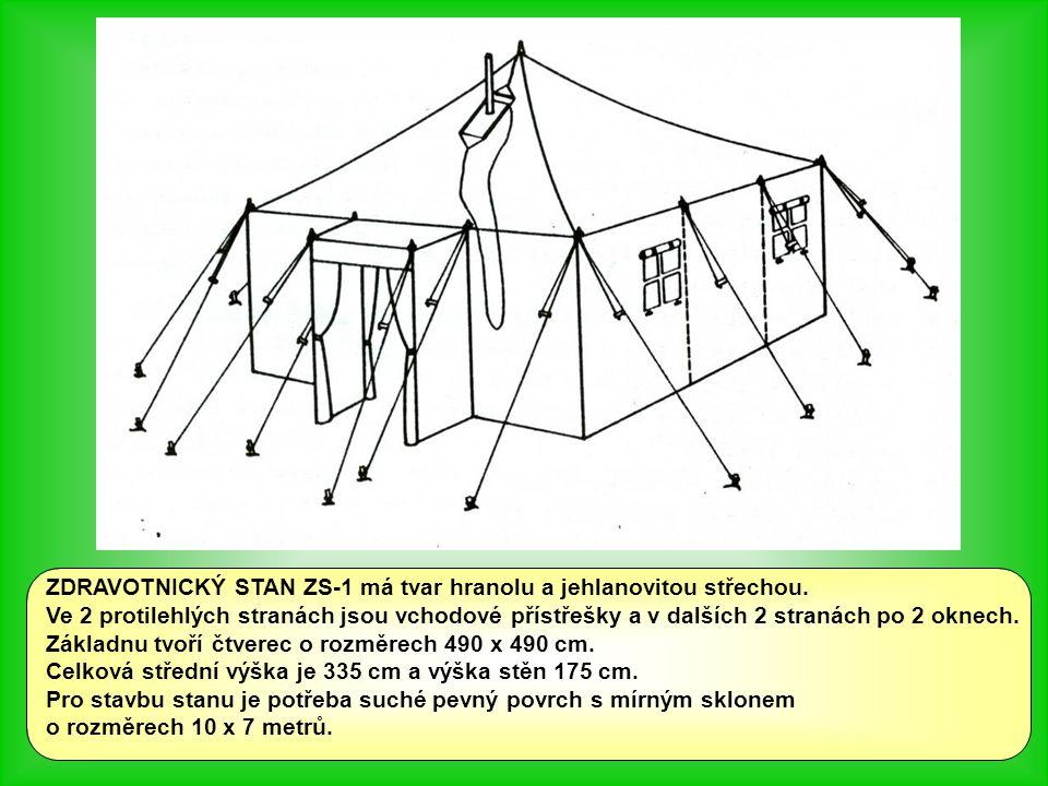 ZDRAVOTNICKÝ STAN ZS-1 má tvar hranolu a jehlanovitou střechou.