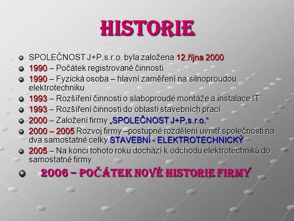 HISTORIE SPOLEČNOST J+P,s.r.o.