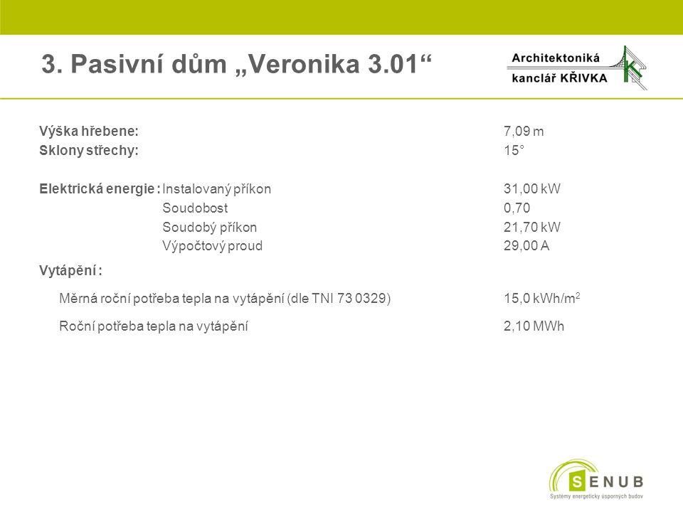 """3. Pasivní dům """"Veronika 3.01"""" Výška hřebene:7,09 m Sklony střechy:15° Elektrická energie :Instalovaný příkon31,00 kW oSoudobost0,70 oSoudobý příkon21"""