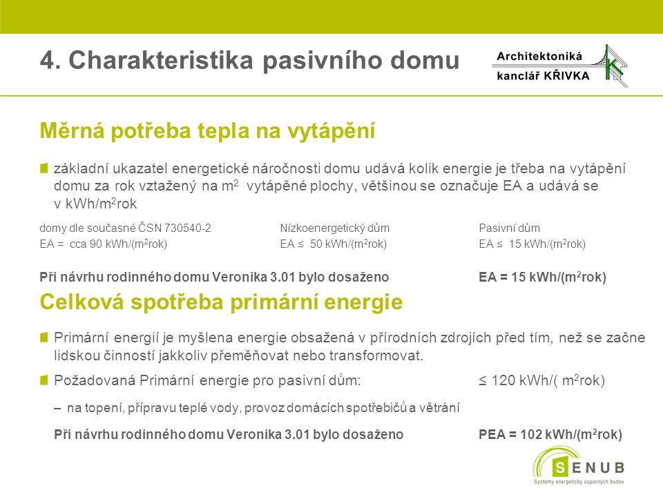 4. Charakteristika pasivního domu oMěrná potřeba tepla na vytápění základní ukazatel energetické náročnosti domu udává kolik energie je třeba na vytáp