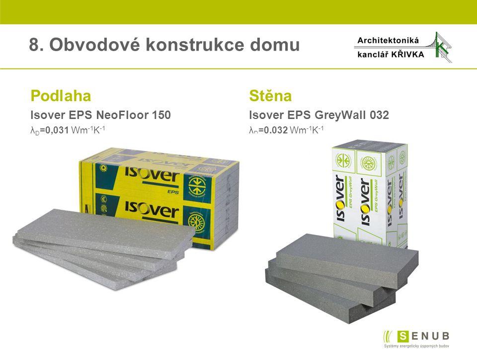8. Obvodové konstrukce domu PodlahaStěna Isover EPS NeoFloor 150Isover EPS GreyWall 032 λ D =0,031 Wm -1 K -1 λ D =0,032 Wm -1 K -1